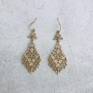 Anthropologie Gold Chandelier Earrings